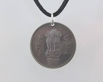 India Coin Necklace, 1 Rupee, Coin Pendant, Leather Cord, Mens Necklace, Womens Necklace, Birth Year, 1995, Vintage,