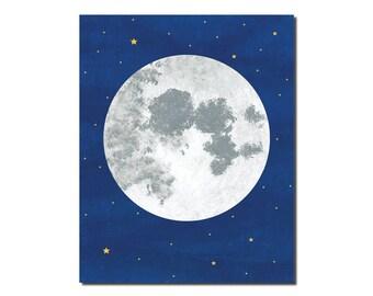 Moon Print - Children's Art Print - Outer Space - Art for Kids - Set of Prints 4x6, 5x7, 8x10, 11x14
