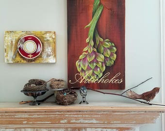 Artichokes an original acrylic painting on re-purposed wood