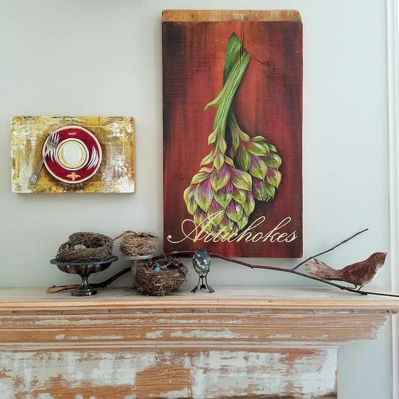 Artichokes an original acrylic painting on re-purposed wood