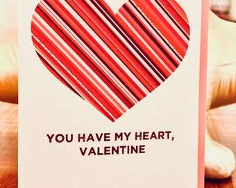 Heartlines - Striped Heart Valentine Card - 100% Recycled Paper