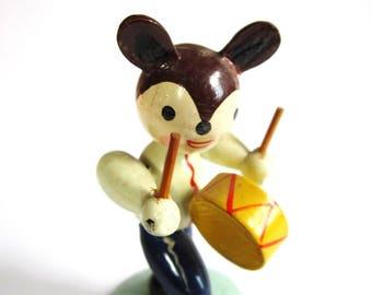 Vintage Painted Mouse Drummer Nodder Figurine