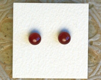 Fused Glass Earrings, Petite, Garnet Red DGE-1054