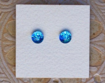 Dichroic Glass Earrings, Petite, Turquoise Blue DGE-1186