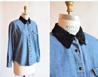 25% off Storewide // Vintage 1990s DENIM shirt