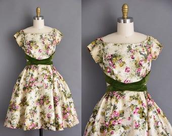 ESTEVEZ 50s silk floral vintage dress. 1950s green velvet full skirt party dress
