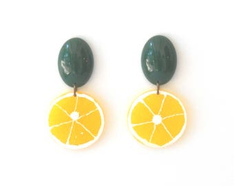 Lemon earrings, Yellow Statement Earrings, Tropical Fruit jewelry, Trendy summer accessories