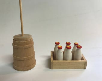 Miniature Butter Churn and Milk Bottles for the Dollhouse