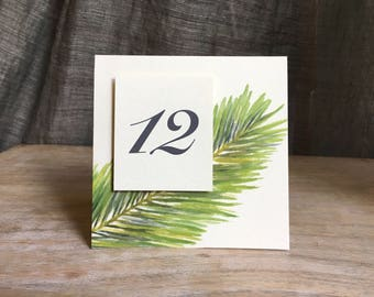 Palm Table Number Tents - for Events, Weddings, Parties, Showers, Graduations.