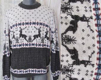 Reindeer Chunky Knit Ski Sweater, Pull Over, Snowflake, Tree, Vintage 60s 70s, Size XL