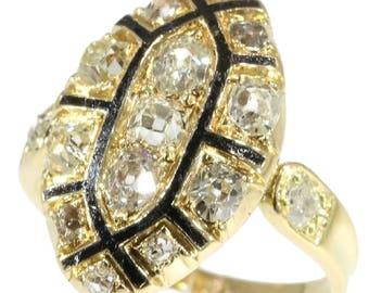 Antique black enamel diamond ring 18k yellow gold old European cut diamonds 1.50ct 18th century Rococo ring