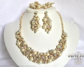 Gold Pearl Butterfly Wedding Jewelry Set Bridal Necklace Earrings Bracelet Formal Prom Pageant Vintage Inspired