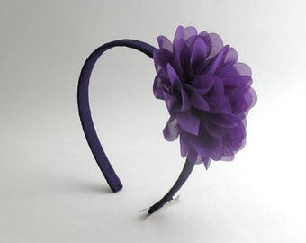 Purple Flower Headband ~ Toddlers, Girls, Adults, Handmade Classic Purple Chiffon Flower Hard Headband
