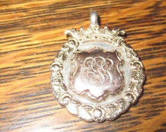 Antique Engraved Sterling Silver and Rose Gold Medal Pendant Fob