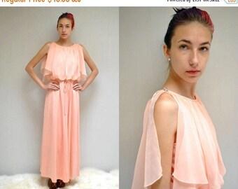 sale 25% off - Bohemian Gown  //  Peach Chiffon Dress  //  70s Bridesmaid Dress  //  THE PECHE