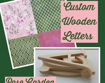 Rose Nursery, Wood Letters, Pink and Green, English Rose, Vintage Nursery, Cottage Chic, Floral Prints, Girly Room Decor, Baby Shower Gift
