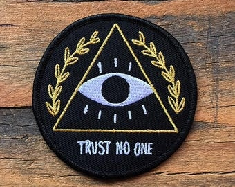 Trust No One Iron-on embroidered Patch by Crywolf // handmade in Canada // back to school trend