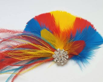 Macaw Feather Fascinator, Hair Clip, Bridal Fascinator, Wedding Fascinator, Wedding Head Piece,  Feather Fascinator, Red Yellow Blue
