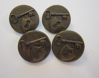 4 metal buttons - SKELETON KEY and lock motif - antiqued brass finish, 7/8 inch shank buttons