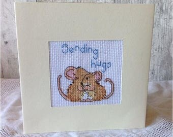 Sending Hugs Hugging Mice Cross Stitched Card