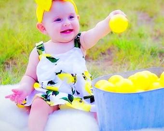 Lemon Swing Dress Big Bow size12-18 Months