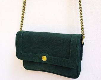 Leather bag, dark green, Basic leather purse, leather bag, forest green, purse, cross body bag, shoulder bag