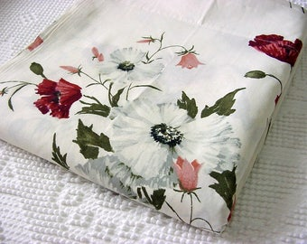 """Vintage NOS Queen Flat Bed Sheet - """"Trina"""" Floral Pequot No Iron Percale Bedding Linens Fabric in Burgundy,Pink,White,Gold,Green on Cream"""
