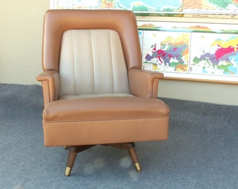 Vintage Two Tone Vinyl Swivel Rocking Chair PICK UP ONLY