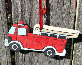 OOAK - Fire Truck Polymer Clay Ornament
