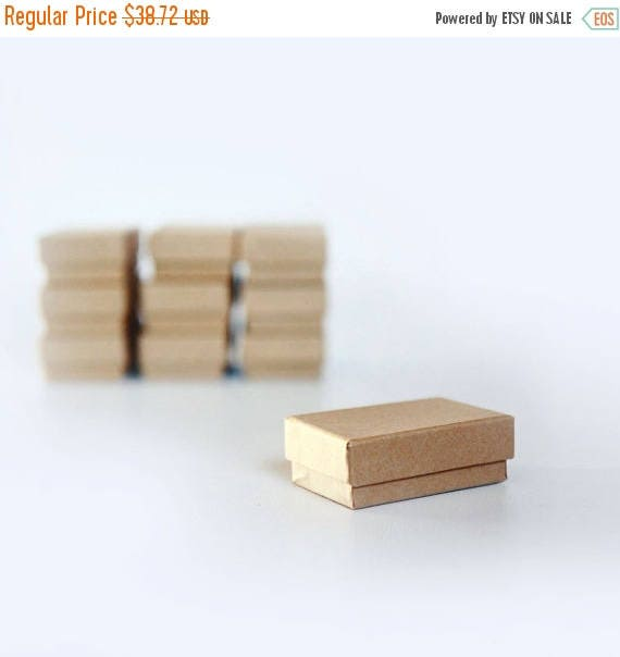 """ON SALE Teeny Tiny- Kraft Jewelry Boxes filled with cotton  1 7/8"""" x 1 1/4"""" x 5/8""""H   lot of 100"""