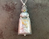25% Off Crazy Lace Agate and Citrine Cabochon Sterling Silver Metalwork Necklace Pendant