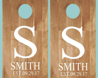 Cornhole Decals- Monogram Name Est Date- Wedding Cornhole- Anniversary- Birthday-Personalized Cornhole- Custom Cornhole Decals-Vinyl Decals