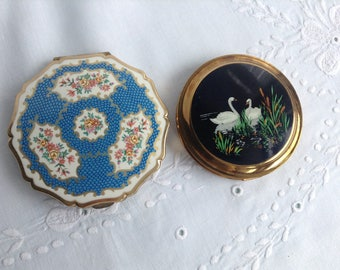Vintage Compacts, 1950s, Stratton, Mascot, Compact Mirror, Swan Compact, Blue Flower Compact