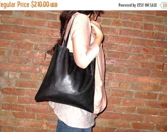 summer sale Gorgeous Supple Black Leather Tote Bag , Market Bag , Everyday Bag