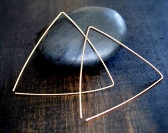 Gold Triangle Earrings - Thin Hoops