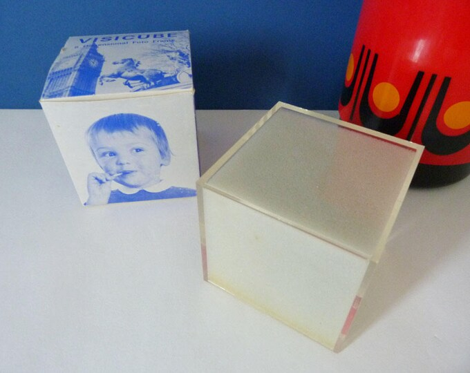 visicube vintage perspex photo frame cube