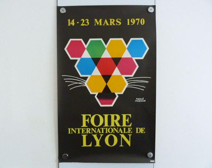 Hervé Morvan Poster Foire Internationale De Lyon 1970 Art MCM Original Poster Wall Art