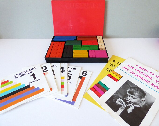 Cuisenaire numbers in colour blocks 1970's vintage