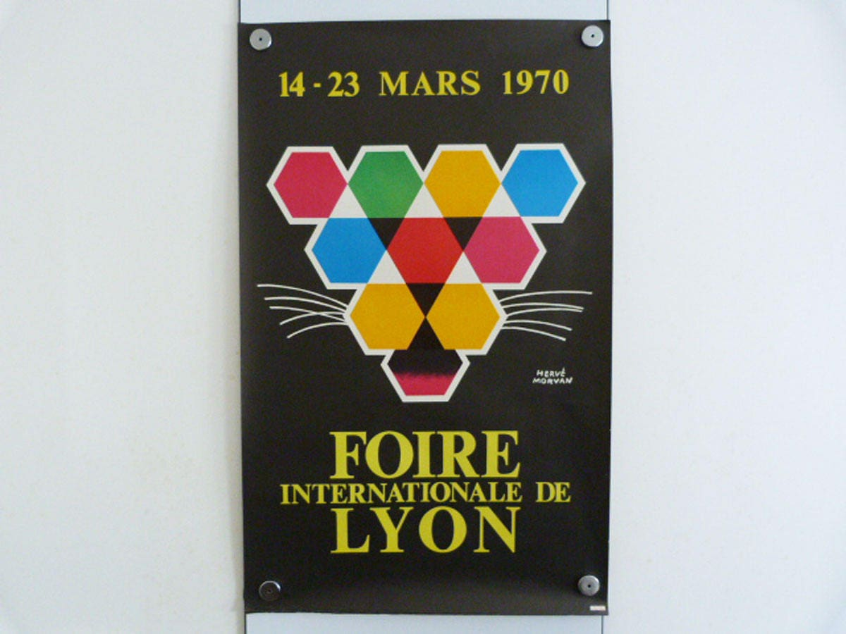 Herv morvan poster foire internationale de lyon 1970 art mcm original poster wall art - Foire internationale de lyon ...