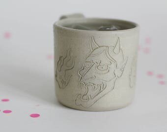 Japanese evil tattoo mug - stoneware mug - oni mask tattoo mug
