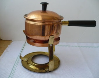 Copper Anniversary Gift, French Fondue Pot With LId and Burner Stand, 7 Year Anniversary Gift, Vintage Gift For Her