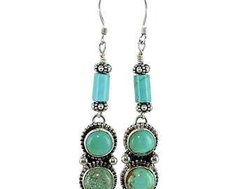 Summer Sale : ) Kingman Turquoise Earrings 3 Stone Granulated
