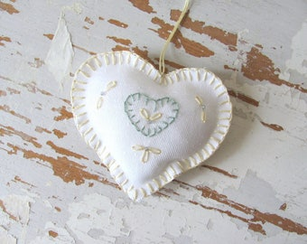 Embroidered Needlework Folk Heart Pincushion, Quilter Sewing Fabric Hanging Ornament Pillow, Primitive Rustic Farmhouse Cottage Love Gift