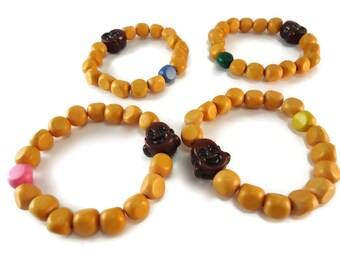 Wood Buddha Bracelet Colorful Jewelry, Spiritual Bracelet Buddha Jewelry Orange Wood Beads, Brown Buddha Accessories for Gifts