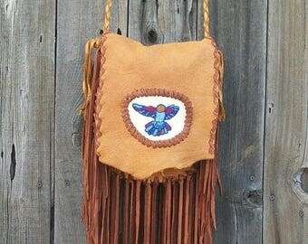 ON SALE Fringed leather handbag ,   Beaded hummingbird ,  Gypsy handbag ,  Fringed leather handbag