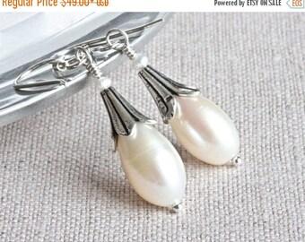 White Freshwater Pearl Earrings, Flower Earrings, White Pearl Drop Earrings, Sterling Silver Dangle Earrings, Large Pearl Earrings for Women