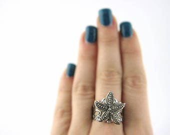 Silver Starfish Ring - Starfish Jewelry - Nautical Ring - Star Fish Ring - Adjustable Ring - Thick Statement Ring For Her -Womens Beach Gift
