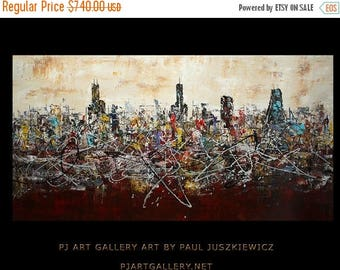 """17% OFF /ONE WEEK Only/ 15 Percent Off /One Week Only/ Enormous Chicago Scape Knife Huge modern Abstract by Paul Juszkiewicz 72""""x 36"""" brown"""