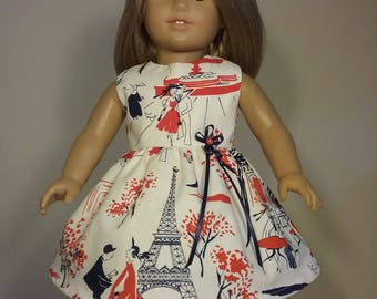 18 inch Doll Clothes Handmade Red White French Print Dress made to fit like American Girl Doll Clothes