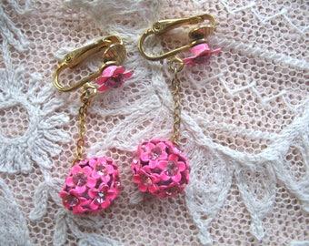 Vintage Dangle Flower & Rhinestone Earrings ~ Clip On ~ Hot Pink Flower Balls